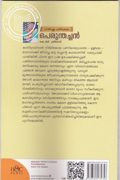 back image of പറയിപെറ്റ പന്തിരുകുലം പെരുന്തച്ചന്
