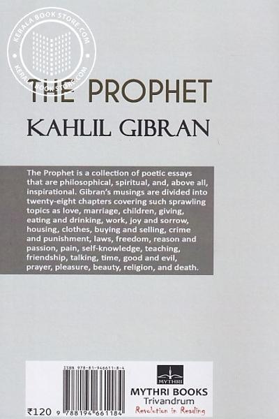 back image of The Prophet - Kahlil Gibran