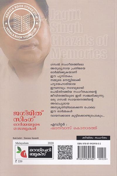 back image of ജഗ്ജിത് സിംഗ് ഓര്മ്മയുടെ ഗസലുകള്